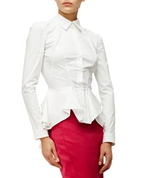 Zac Posen Long Sleeve Peplum Blouse White