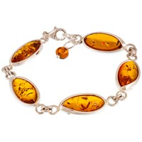 Be Jewelled Marquise Style Baltic Amber And Sterling Silver Bracelet Silver Amber