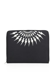 Neil Barrett Main Thunderbolt Calf Leather Document Holder Black White