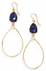 Sonya Renee Sonyarenee 'Mindee' Semiprecious Stone Drop Hoop Earrings Lapis