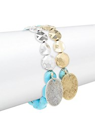 Alanna Bess Set Of Two Turquoise And Sterling Silver Beaded Bracelets