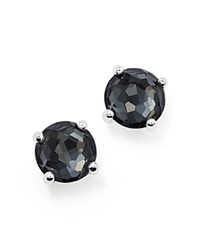 Ippolita Sterling Silver Rock Candy Mini Doublet Stud Earrings In Clear Quartz And Hematite Black Silver