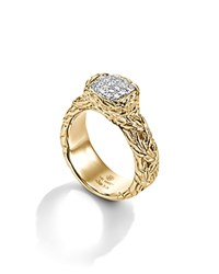 John Hardy Classic Chain 18K Yellow Gold Diamond Pave Braided Band Ring Gold White