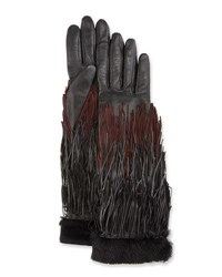 Agnelle Zelda Leather Fringe Gloves Black