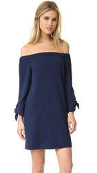 Tibi Off Shoulder Tie Dress Navy