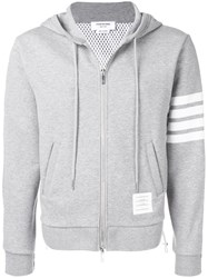 Thom Browne 4 Bar Half And Half Hoodie Grey