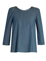 The Great Darling Ruched Shoulder Cotton Chambray Top Blue