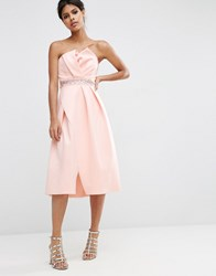 Asos Embellished Trim Folded Bandeau Prom Dress Nude Pink