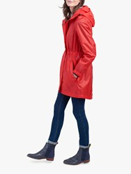Joules Golightly Pack Away Waterproof Parka Coat Chilli Pepper