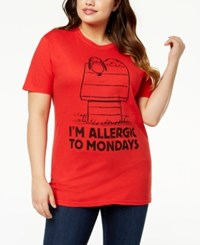 Hybrid Plus Size Cotton Snoopy T Shirt Red