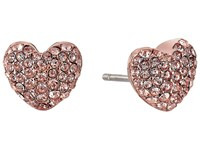 Michael Kors Pave Hearts Tone And Peach Crystal Heart Stud Earrings Rose Gold Earring