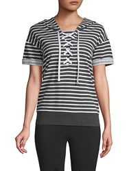 Marc New York Striped Lace Up Hooded Sweatshirt Charcoal