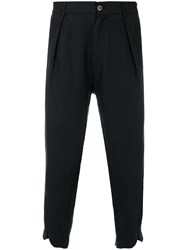 Societe Anonyme V Cuffed Cropped Trousers Linen Flax Black