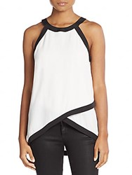 Collective Concepts Colorblock Layered Tank White Black