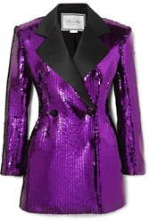 Redemption Double Breasted Satin Trimmed Sequined Crepe Mini Dress Purple