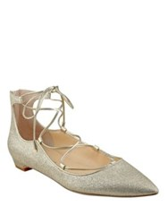 Ivanka Trump Tropica Glittered Lace Up Flats Gold