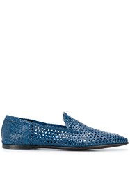 Dolce And Gabbana Woven Loafers Blue