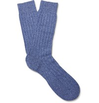 Pantherella Waddington Ribbed Cashere Blend Socks Blue