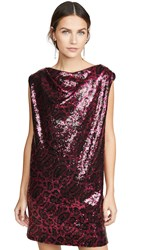 Rta Stevie Sequined Cowl Neck Dress Magenta Leopard