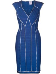 Herva La Ger Bandage V Neck Dress Blue