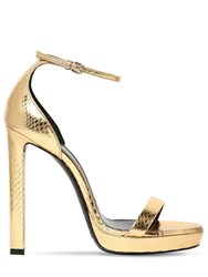 Saint Laurent 115Mm Hall Snakeskin Sandals Gold