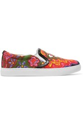 Sam Edelman Pixie Faux Leather Trimmed Printed Canvas Slip On Sneakers Pink
