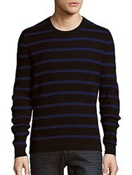 Michael Kors Waffle Striped Long Sleeve Pullover Black