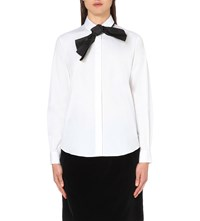 Isa Arfen Bow Detail Cotton Shirt White