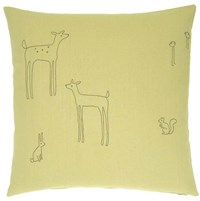 K Studio Woodland Creatures Embroidered Pillow Red White