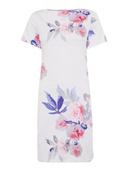 Joules Printed Jersey T Shirt Dress White