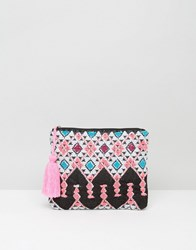 South Beach Bright Embroidered Clutch Bag Multi