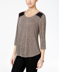 Styleandco. Style Co. Crochet Trim High Low Top Only At Macy's Bastille Grey