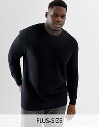 Tom Tailor Plus 100 Cotton Knitted Texture Jumper In Black