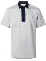 Lanvin Zipped Polo Shirt Grey