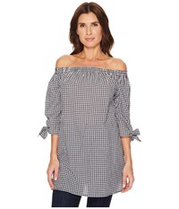 Scully Katrina Off The Shoulder Gingham Blouse Black White Clothing