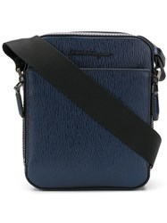 Salvatore Ferragamo Textured Leather Messenger Bag Blue