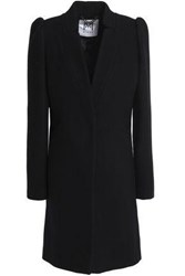 Milly Gathered Wool Blend Coat Black