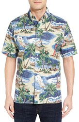 Reyn Spooner Men's Hawaiian Christmas Shirt Blue