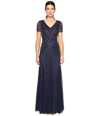 Adrianna Papell Short Sleeve Illusion Neck Beaded Gown Navy Women's Dress