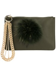 Mr And Mrs Italy Embellished Clutch Cotton Racoon Fur Calf Leather Green