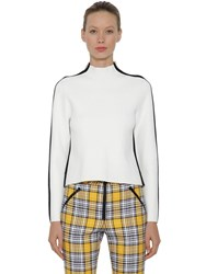 Veronica Beard Contrasting Color Side Band Sweater Ivory