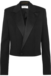 Saint Laurent Cropped Satin Trimmed Wool Twill Blazer Black