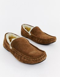 Boss Relax Suede Faux Shearling Lined Slippers In Tan