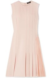 Theory Pleated Crepe Mini Dress Neutral