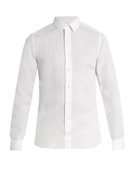 Valentino Button Cuff Linen Shirt White