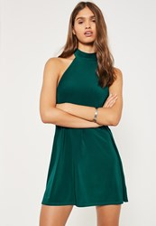 Missguided Green Halterneck Swing Dress Teal