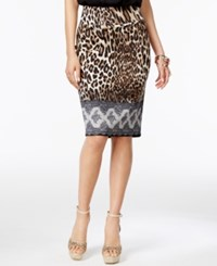 Thalia Sodi Printed Pencil Skirt Only At Macy's Taupe Combo