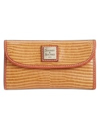 Dooney And Bourke Lizard Embossed Continental Clutch Wallet Peanut Brittle