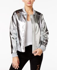 Guess Brock Metallic Bomber Jacket Silver