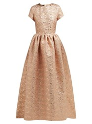 Rochas Gathered Floral Brocade Gown Pink